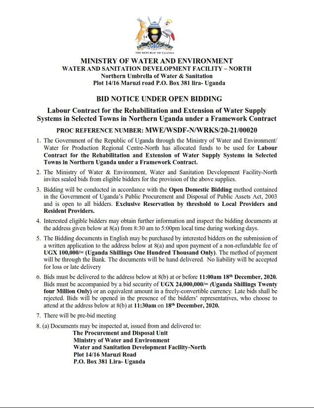 Labour Contract for the Rehabilitation and Extension of Water Supply Systems