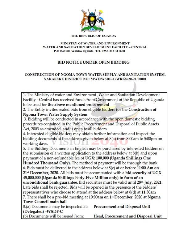 CONSTRUCTION OF NGOMA TOWN WATER SUPPLY AND SANITATION SYSTEM, NAKASEKE DISTRICT NO: MWE/WSDF-C/WRKS/20-21/00001